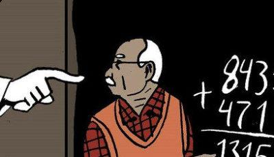 ilustración de un maestro ante una pizarra