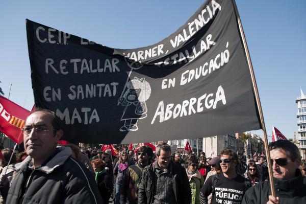 Una manifestación en Valencia contra los recortes en educación pública