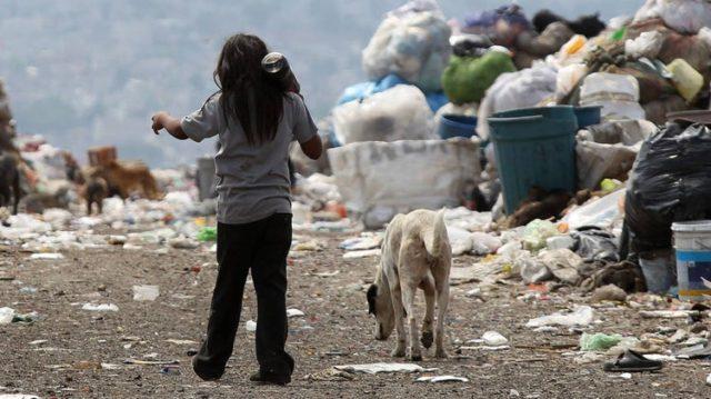 imagen de una niña con un perro rodeada de basura