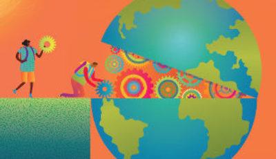 Cartel campaña con niños/as que caminan hacia un planeta abierto
