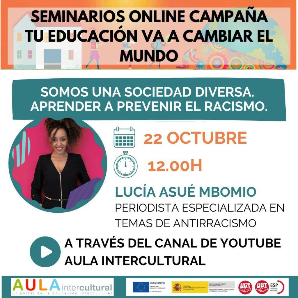 Cartel seminario online Lucía Asué