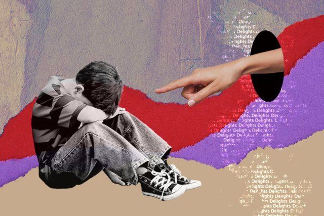 Imagen de un niño y una mano acusadora