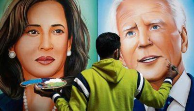 Retrato de Harris y Biden pintado por el artista indio Jagjot Singh Rubal