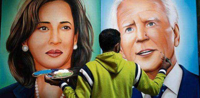 Retrato de Harris y Biden del artsta indio Jagjot Singh Rubal