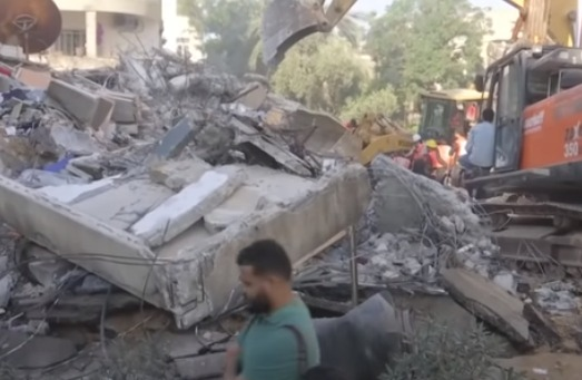 Imagen de unos escombros tras un ataque israelí en Gaza