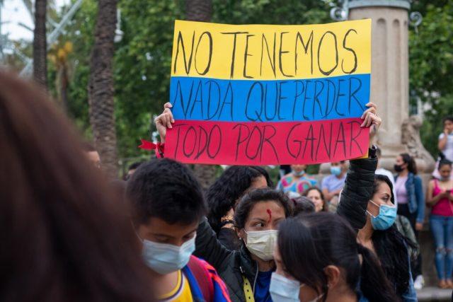 imagen de una manifestación en Colombia