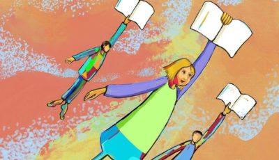 ilustración de niñas con libros volando